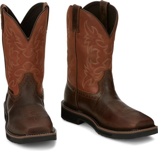 "Justin Mens Boots SE4300 11"" Actuator Comp Toe Brown"