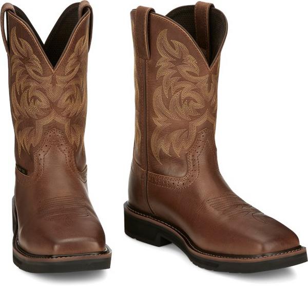 """Justin Mens Boots SE4824 11"""" Handler Safety Toe Brown"""