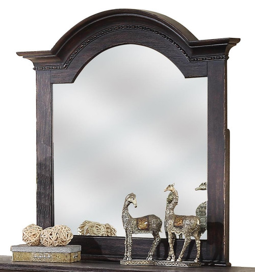 Constructed of hardwood solid and Ash veneer Framed, beveled-edge mirror Attaches to dresser with included bolts and two upright support rails *Includes the mirror only