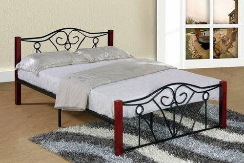 Black Metal Bed with Swirl Design