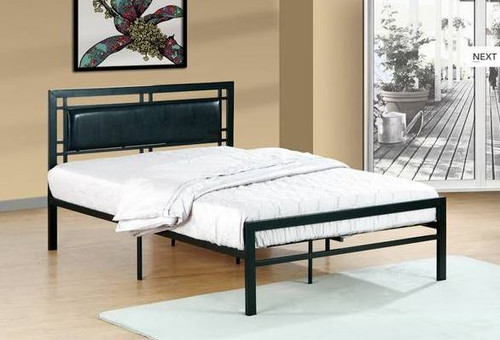 Black Metal Padded Bed