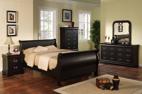 Black Sleigh Bedroom Collection