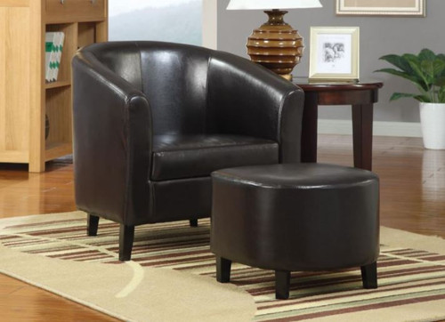 Black Leatherette with Ottoman