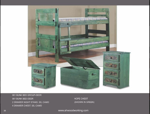 A&H Woodworking Bunk Bed Deer Group Twin/Twin (Green)