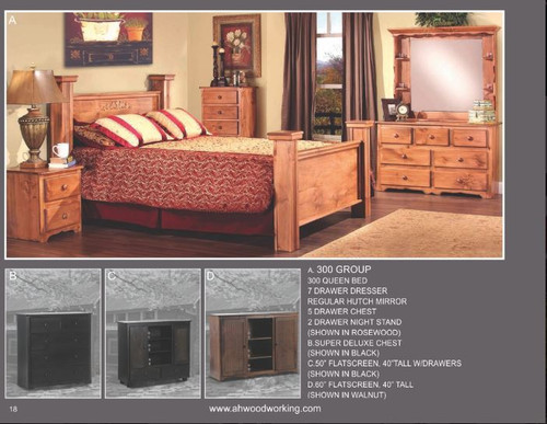 A&H Woodworking 300 Group Queen Bed Set
