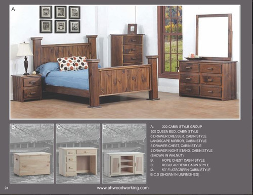 A&H Woodworking 300 Cabin Style Queen Bed