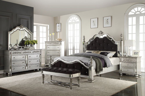 Silver/Black Queen Bedroom Set (5 Piece)