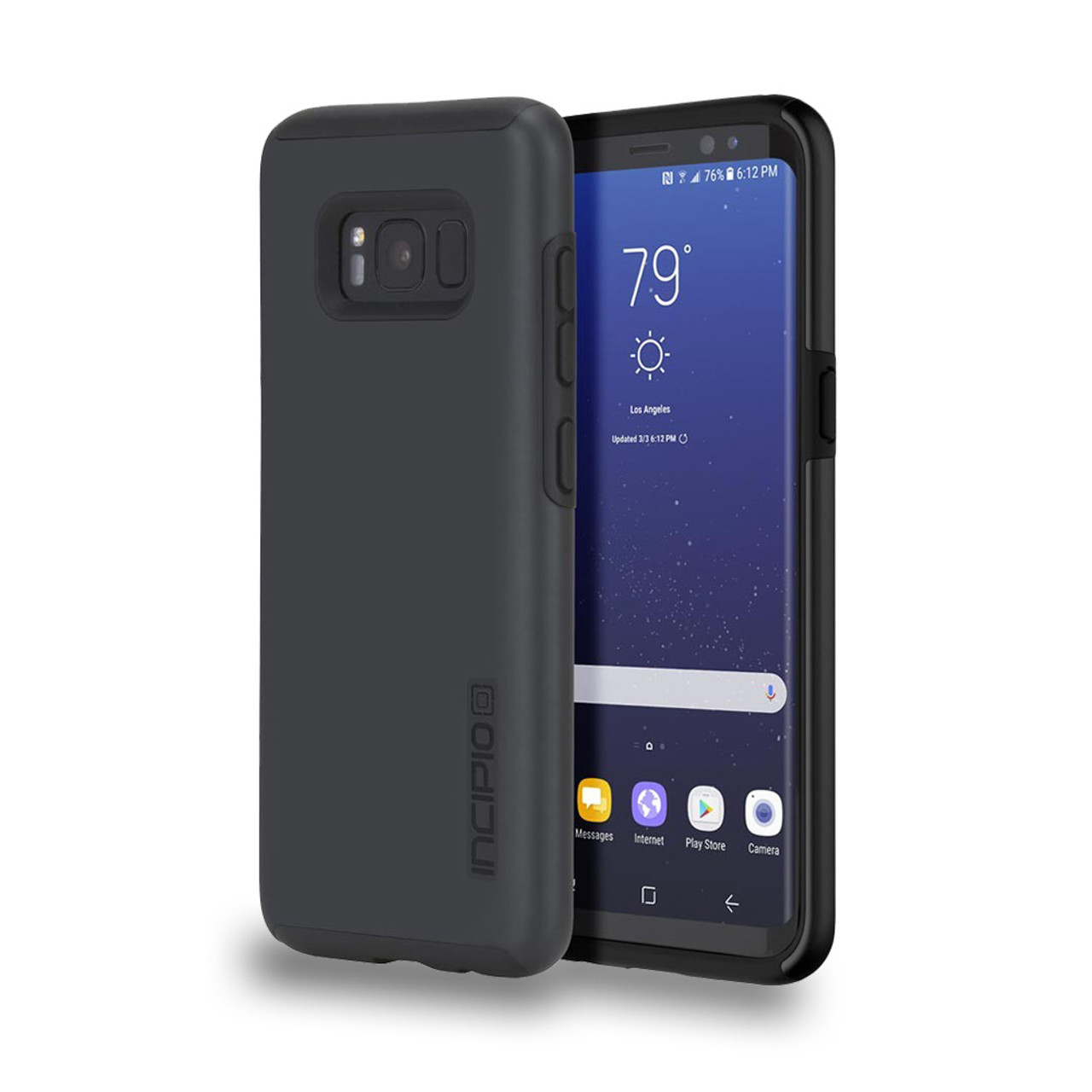 newest be3b6 9a779 INCIPIO - DualPro Case for Samsung Galaxy S8 Iradescent Black/Black