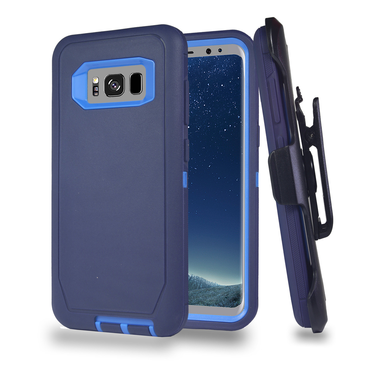 newest 0487a 8297c Sports Guard Case with Holster Combo for Samsung Galaxy S8 Navy-Blue