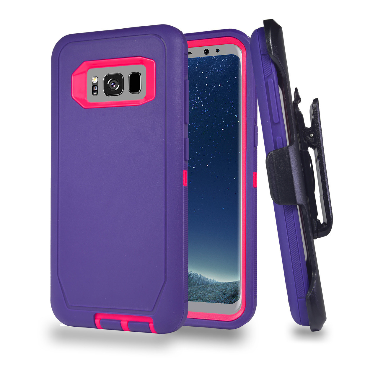 best service a8d46 bf953 Sports Guard Case with Holster Combo for Samsung Galaxy S8 Plus Purple-Hot  Pink