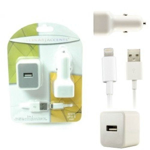 Cellular accents 3 in 1 usb mini car and home chargers + data cable for iphone 4