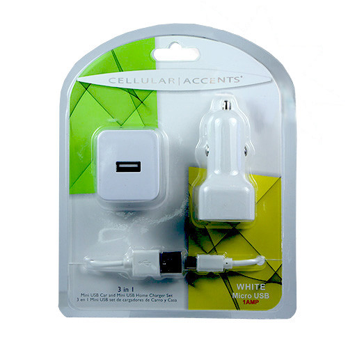Cellular Accents 3 In 1 USB Mini Car and Home Chargers + Data Cable for iPhone 5-6-7; White
