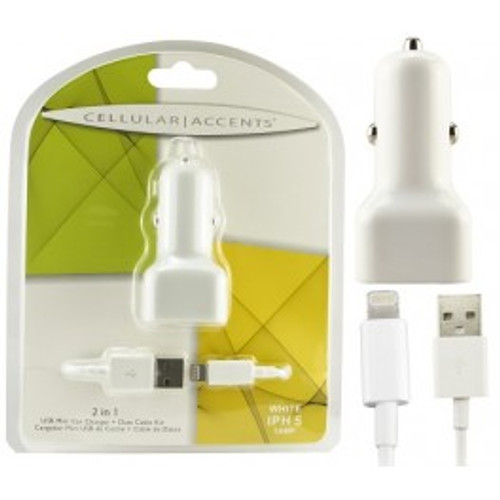 Mini dual usb 2.1 amp travel charger adapter white