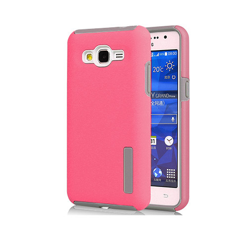 slim suit hybrid rubberized case for samsung galaxy j2 hot pink-gray