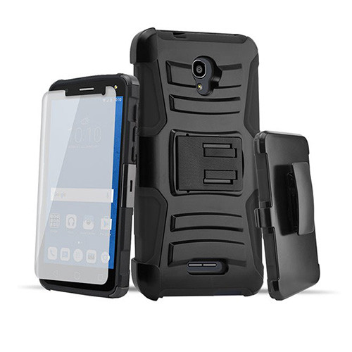 rugged hybrid case with kickstand and holster combo for samsung galaxy j3 black-black