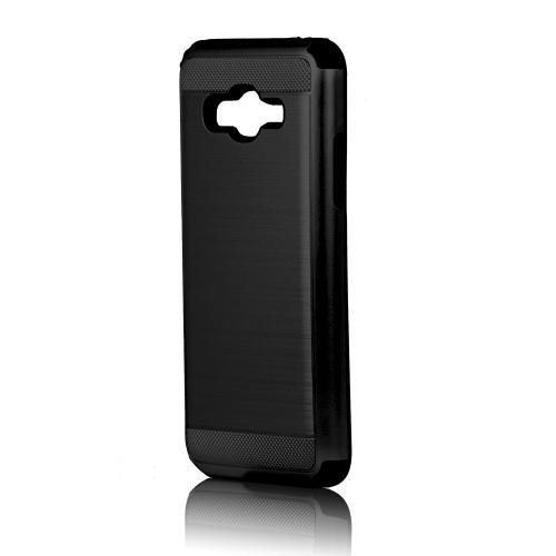 hard pod hybrid case for samsung galaxy j3 black-black