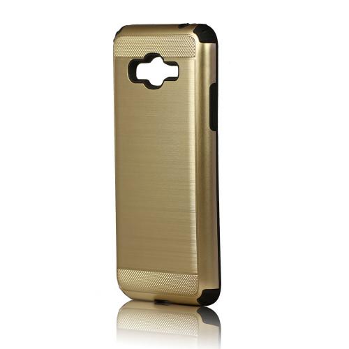 hard pod hybrid case for samsung galaxy j3 gold-black