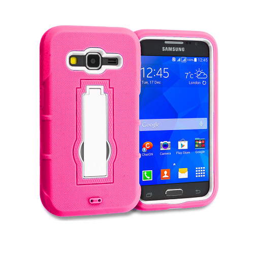Shockproof Guard Case with Kickstand for Samsung Galaxy ON5 G550 Hot Pink-White