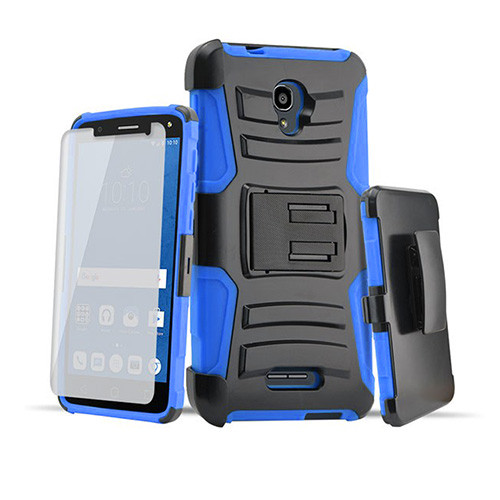 rugged hybrid case with kickstand and holster combo for samsung galaxy s5 mini blue-black