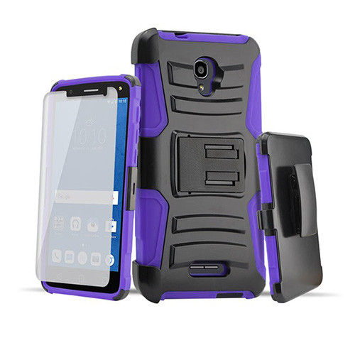 rugged hybrid case with kickstand and holster combo for samsung galaxy s5 mini purple-black