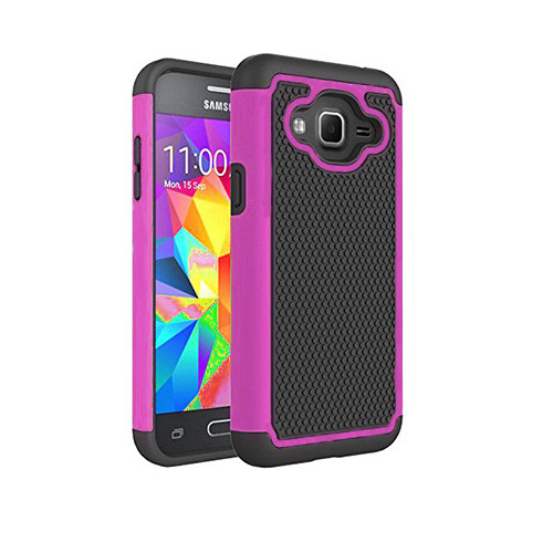 contempo hybrid case for samsung galaxy s5 mini hot pink-black