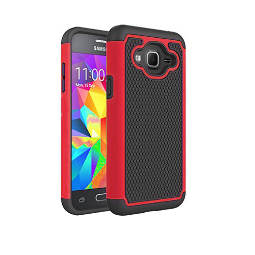 contempo hybrid case for samsung galaxy s5 mini red-black
