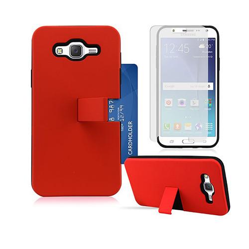 id slim hybrid case with kickstand for samsung galaxy s6 edge red-black
