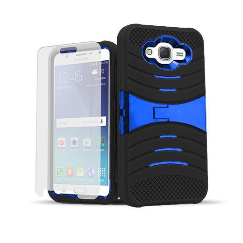 ultra rigid guard case with kickstand for samsung galaxy s6 edge plus black-blue