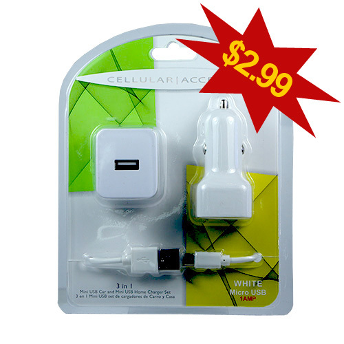Cellular Accents 3 in 1 usb mini car and home chargers + micro usb data cable white