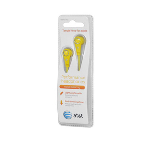 AT&T tangle free flat cable performance earphones with mic yellow