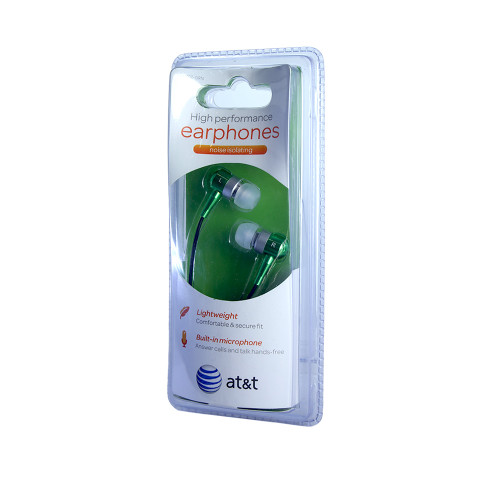 AT&T high performance noise isolating earphones with mic green