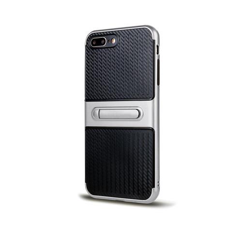 Traveler Hybrid Case with Kickstand for Samsung J7 Silver