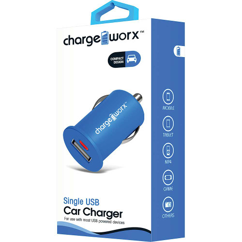 ChargeWorx Plug in adapter usb car charger single port 1.0Amp blue