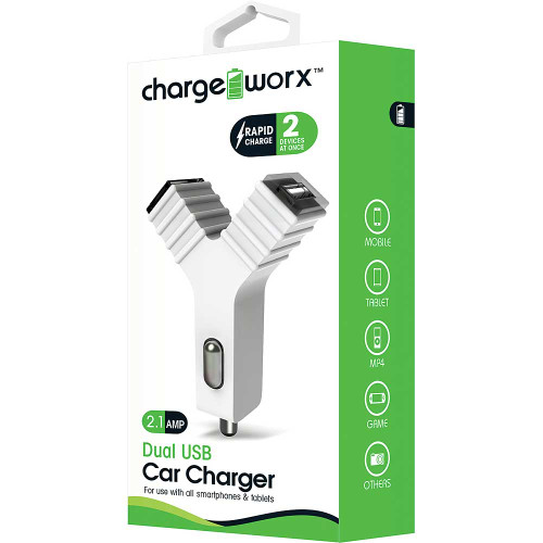 """ChargeWorx Plug in dual usb car charger """"Y"""" shape 2.1A white"""