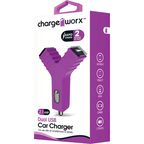 """ChargeWorx Plug in dual usb car charger """"Y"""" shape 2.1A violet"""