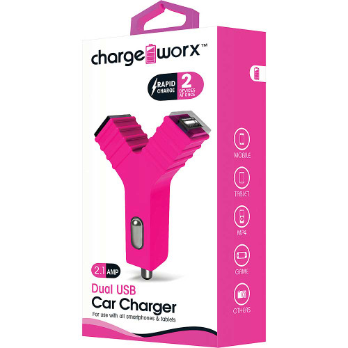 """ChargeWorx Plug in dual usb car charger """"Y"""" shape 2.1A pink"""