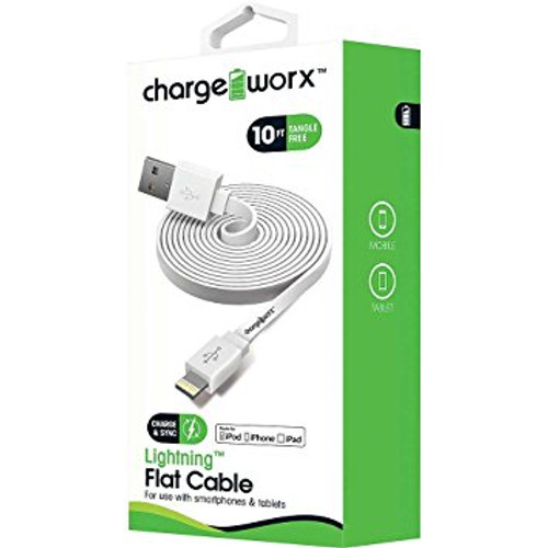 iPhone usb flat sync & charge cable lightning, 1.8M/6F white