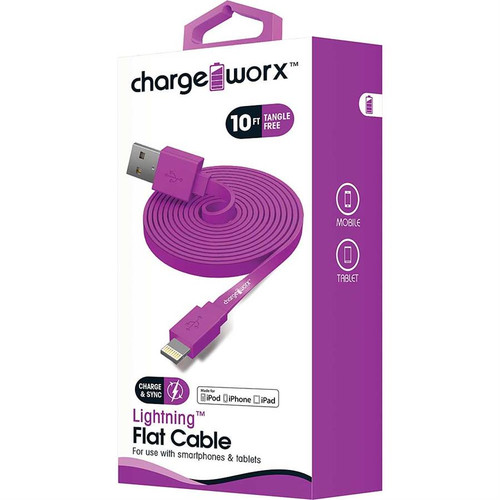 iPhone usb flat sync & charge cable lightning, 1.8M/6F violet