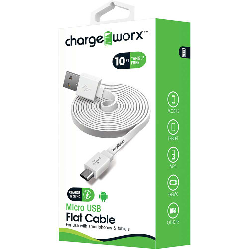 ChargeWorx Micro usb sync & charge cable 10FT/3M white
