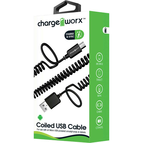 ChargeWorx iPhone usb coiled sync & charge cable lightning 1M/3FT black