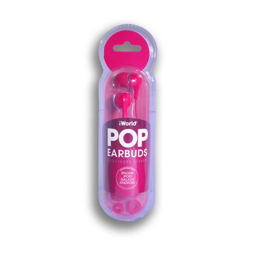 iWorld POP Earbuds Hot Pink