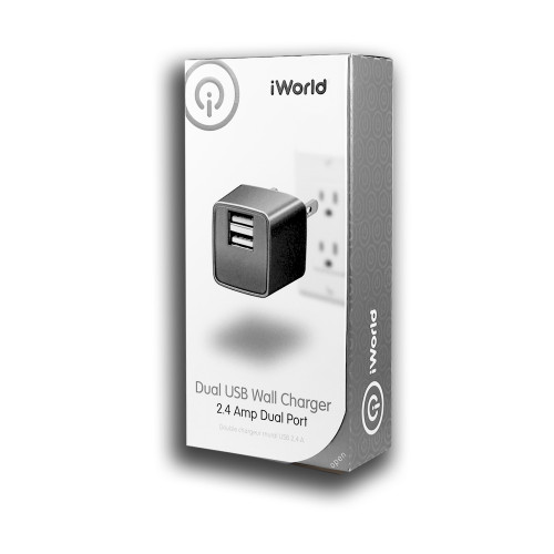 iWorld Dual USB Wall Charger 2.4 Amp Dual Port Dark Gray