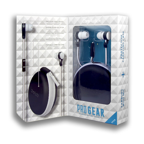 CoreAudio ProGear Earbuds with Mic Travel Kit White