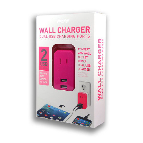 iWorld Oulet Mini USB Charger Pink
