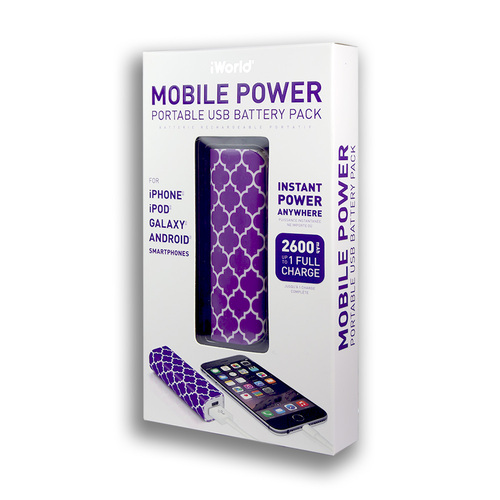iWorld Mobile Power Portable USB Battery Pack 2600mah Tapestry Design Purple