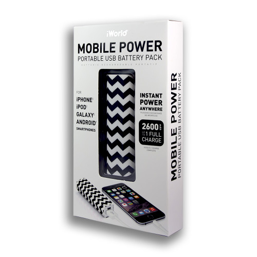 iWorld Mobile Power Portable USB Battery Pack 2600mah Wave Design Black and White
