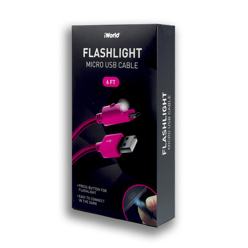 iWorld Flashlight Micro USB Cable Pink 6ft
