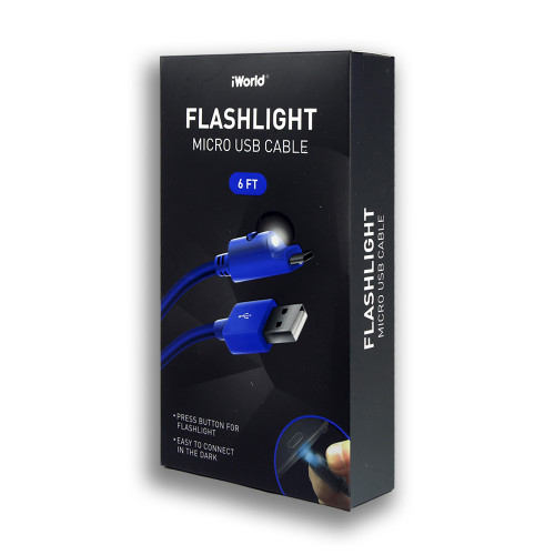 iWorld Flashlight Micro USB Cable Blue 6Ft