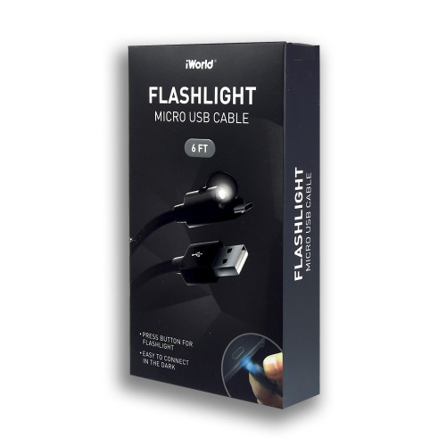 iWorld Flashlight Micro USB Cable Black 6Ft