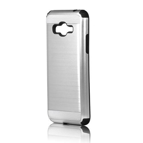 Hard Pod Hybrid Case for Samsung Galaxy J3 Prime Sliver-Black